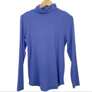 Soft Surroundings Periwinkle Ribbed Turtleneck Top